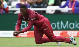 West Indies' Sheldon Cottrell catches out Pakistan's Mohammad Hafeez.