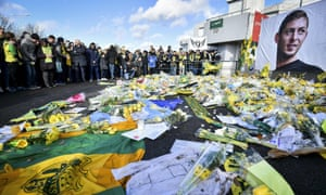 Nantes supporters pay tribute to the Argentinian forward Emiliano Sala.