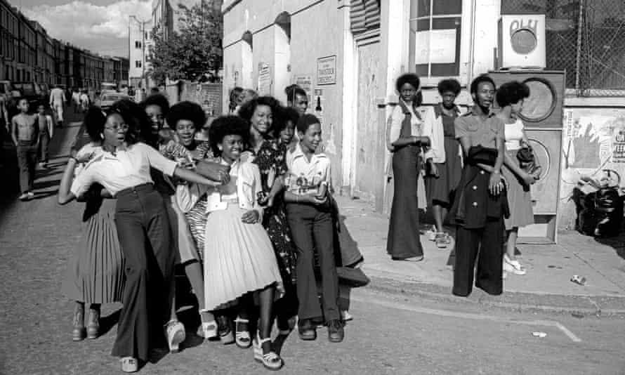 Carnival 1975 … dancing on a street corner.