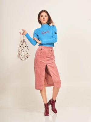 Beaded bag, £370, ganni.com Jumper, £295, bellafreud.com Boots, £85, stories.com Pink split cord skirt, £270, Alexachung, matchesfashion.com Model: Frankie at Select