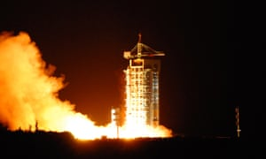 The rocket containing China's quantum satellite, Micius. The satellite has beamed entangled particles of light to ground stations more than 700 miles apart.