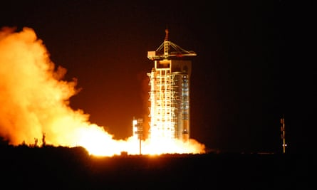 China's quantum satellite - nicknamed Micius after a 5th century BC Chinese scientist - blasts off from the Jiuquan satellite launch centre.