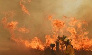 A firefighter battles a bushfire in New South Wales