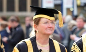 Glynis Breakwell takes part in a procession at the University of Bath