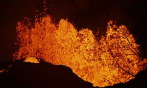 Lava erupts from a fissure on Monday 21 May.