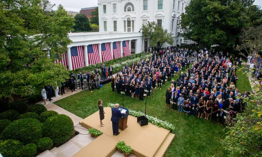 Donald Trump introduces Judge Amy Coney Barrett in the Rose Garden of the White House on 26 September.