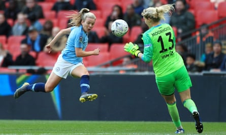 Lauren Hemp scores for Manchester City against West Ham in the 2019 Women's FA Cup final. Vitality hopes crowds will be back for the 2021 final at Wembley.
