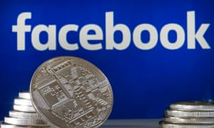 A visual representation of a digital cryptocurrency coin in front of a Facebook logo