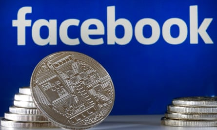 Facebook logo and stacks of coins