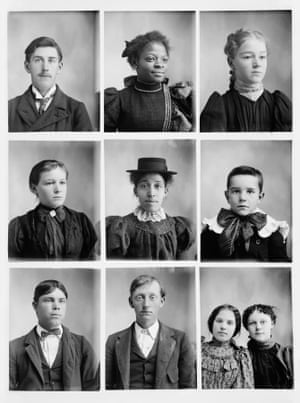Beginning his career in the early 1890s, Mangum used a Penny Picture camera that was designed to allow multiple and distinct exposures on a single glass plate negative. Working in a step-and-repeat process, the order of the images on a single glass plate mirrors the sequence in which Mangum's diverse clientele sat for him each day