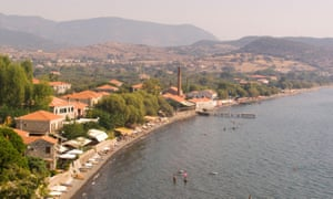 Aerial, panoramic shot of Mithymna town and beach on Lesbos, Greece