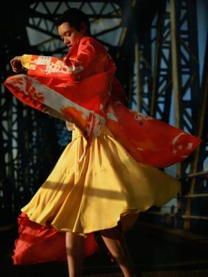Orange tie-dye coat, £655, msgm.it, and corset dress, £960, adeam.com
