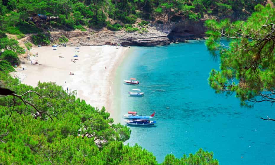 Blue sea at Kabak beach in Turkey