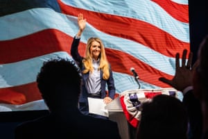 Senator Kelly Loeffler, a Republican from Georgia, addresses a crowd in Atlanta, Georgia on Tuesday.