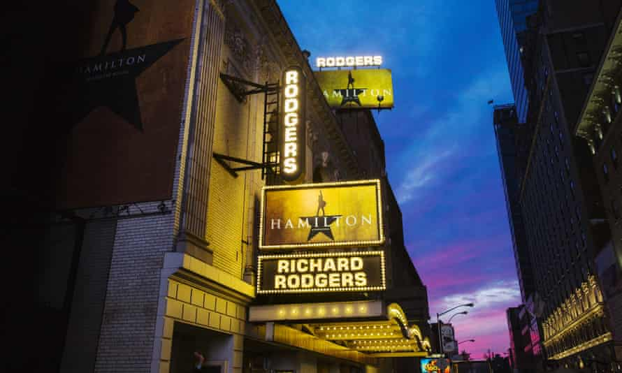 A marquee is lit up on the opening night of Hamilton.