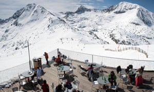 Range finder: lunch on a sunny deck overlooking the slopes, Grandvalira ski area.