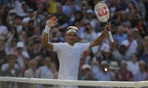 Roger Federer celebrates his win over Milos Raonic.