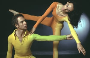 Merce Cunningham and Carolyn Brown rehearsing Second Hand in 1969, costumes by artist Jasper Johns.