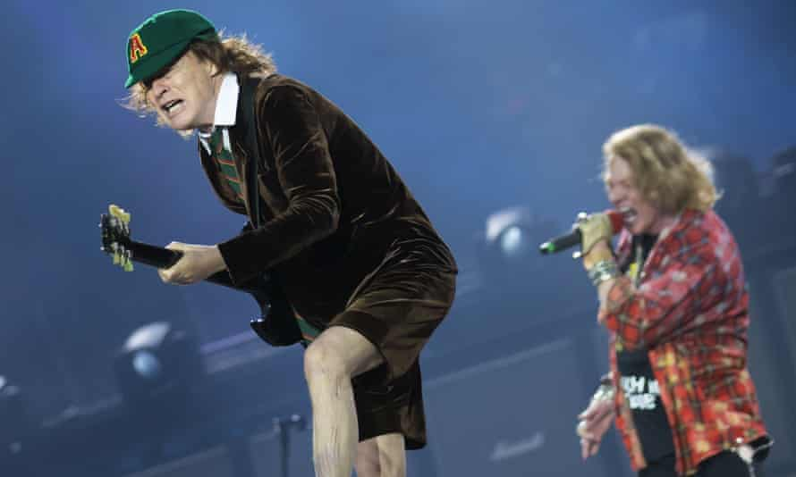 Angus Young: 'owner of the most overexposed shins in rock'.