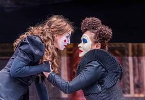 Kirsty Bushell as Juliet and Martina Laird as Lady Capulet at Shakespeare's Globe, London, in 2017.