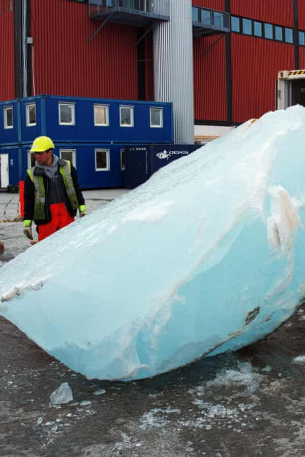 The ice blocks are currently in freezer containers normally used to ship shrimps from Greenland.