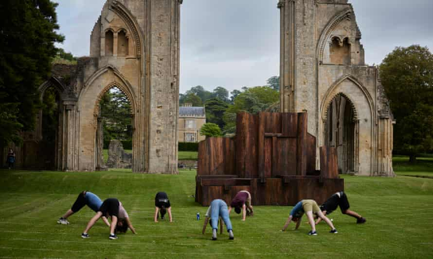 The company arrive, set-up and perform at Glastonbury Abbey, Glastonbury, Somerset