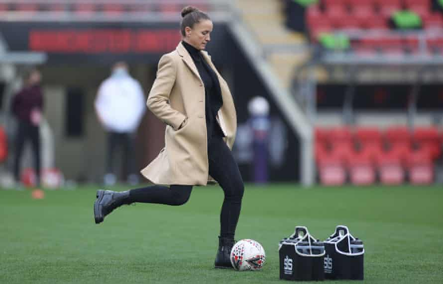 Casey Stoney during the warm-up before Manchester United's WSL match with Arsenal in November