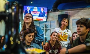 Marjory Stoneman Douglas students, parents, and alumni during a midterm election watch party.