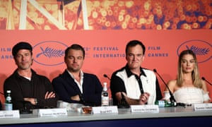 Brad Pitt, Leonardo DiCaprio, Tarantino and Margot Robbie at the press conference.