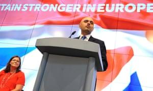Sajid Javid speaking in Birmingham.