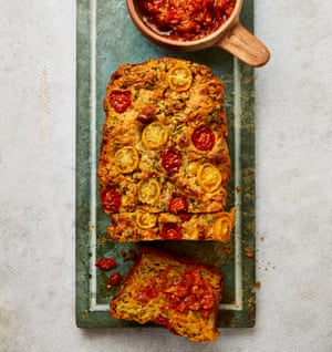 Yotam Ottolenghi's tomato and courgette loaf with tomato chutney.