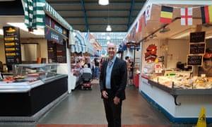 Labour MP Geraint Davies at Swansea's indoor market: