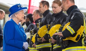 The Queen meets firefighters following the fire at the Grenfell Tower block