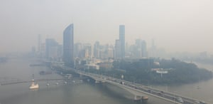 Brisbane's city centre is blanketed in thick smoke