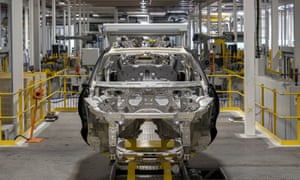 The shell of Aston Martin's first SUV, the DBX, at the carmaker's factory in St Athan, south Wales.