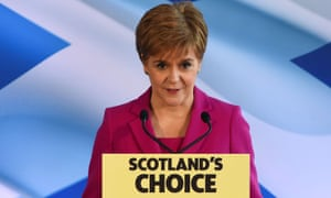 The Scottish National party (SNP) leader and Scotland's first minister, Nicola Sturgeon, speaking in Edinburgh.