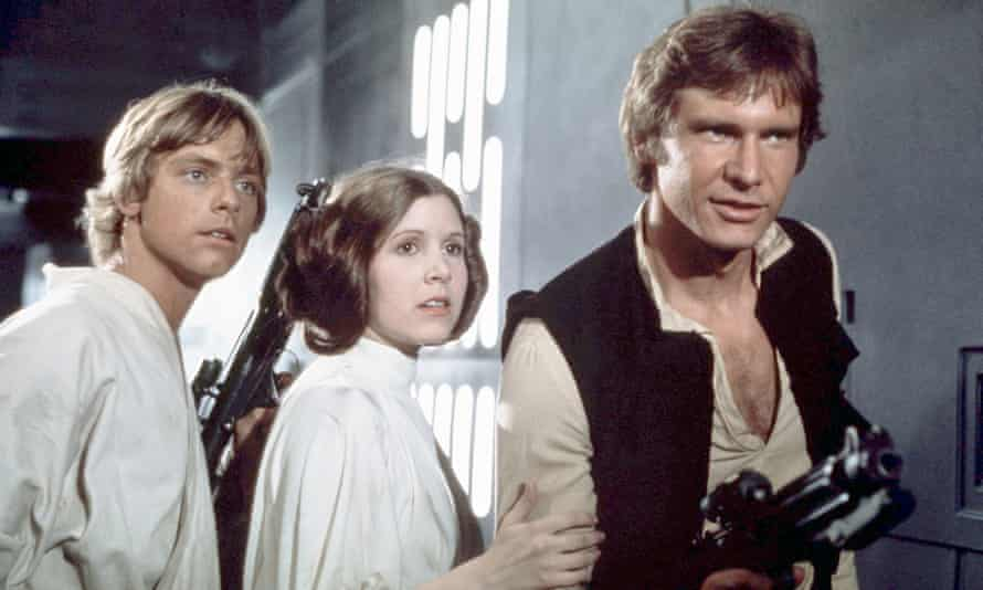 Left to right, Mark Hamill, Carrie Fisher and Harrison Ford in the original Star Wars film, 1977, later known as Star Wars: Episode IV - A New Hope.