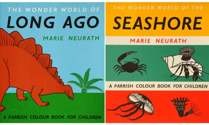 Two of Marie Neurath's book covers, on show at the House of Illustration in London.