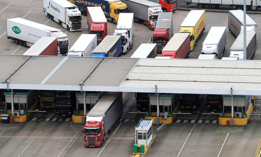 Lorries arrive at the Port of Dover in Kent.
