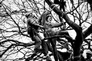 "Singer Theo Simon is dragged from the trees by a bailiff during the eviction of one of the 30 camps lining the nine mile route of the bypass.<br>Simon wrote about his experience in the Guardian's <a href=""http://www.theguardian.com/artanddesign/2015/jul/03/thats-me-picture-newbury-bypass-protest-theo-simon"">'That's me in the picture'.</a>"