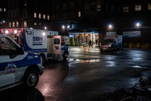 EMS personnel outside Emergency Department, St. Barnabas Hospital in the Bronx on March 28, 2020 in New York City. The World Health Organization declared coronavirus (COVID-19) a global pandemic on March 11.