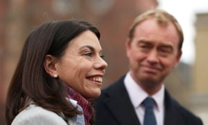Sarah Olney with Lib Dem leader Tim Farron