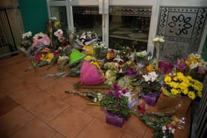 Floral tributes on the front steps of Kilbirnie mosque in Wellington