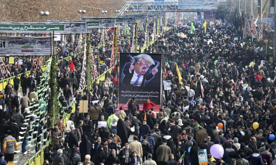 Iranians march during the annual rally on the anniversary of the 1979 Islamic revolution in Tehran
