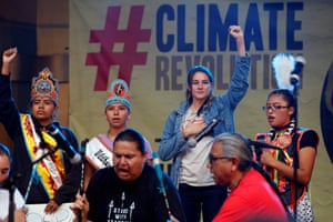 Actor Shailene Woodley stands with Native Americans during a climate change rally in solidarity with protests of the pipeline in North Dakota.
