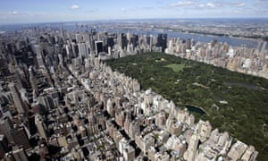 Aerial view over of Manhattan and Central Park taken from the Upper East Side