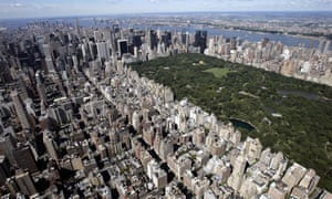 Aerial view over the Upper East Side of Manhattan and Central Park