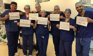 A surgical team at Homerton hospital in east London whose members come from around the European Union