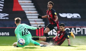 Dominic Solanke (right) puts Bournemouth ahead.