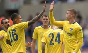 Ross Barkley, right, here celebrating with Kenedy after scoring for Chelsea at Reading, says he has been asked to play further forward by Frank Lampard.